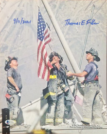 Thomas E. Franklin Signed 11x14 Firefighters Raising Flag 9/11 Photo BAS