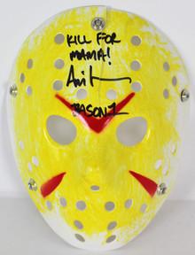 "Ari Lehman Friday The 13th ""Kill For Mama!"" Signed Yellow Jason Mask BAS #D67491"