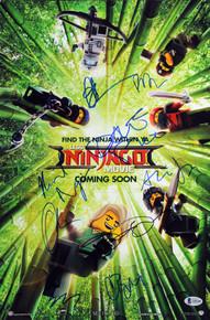 The Lego Ninjago Movie (9) Cast Signed 12x18 Mini Movie Poster BAS #A85188