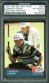 Charles Coody Authentic Signed Card 1991 Pro Set PGA Tour #243 PSA/DNA Slabbed