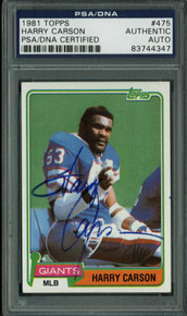 Giants Harry Carson Authentic Signed Card 1981 Topps #475 In Blue PSA Slabbed