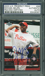 Phillies Michael Bourn Authentic Signed Card 2003 Ud Prospect Rc #48 PSA Slabbed