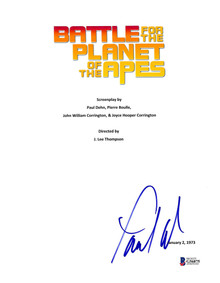 Paul Williams Battle For Planet Of Apes Signed Movie Script Cover BAS #G56875