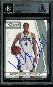 Timberwolves Wesley Johnson Signed Card 2010 Prestige RC #154 BAS Slab #9623047