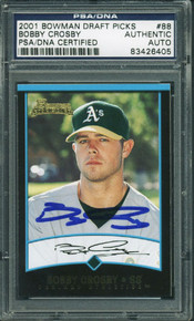 Athletics Bobby Crosby Authentic Signed Card 2001 Bowman Rookie #88 PSA Slabbed