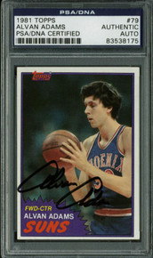 Suns Alvan Adams Authentic Signed Card 1981 Topps #79 PSA/DNA Slabbed