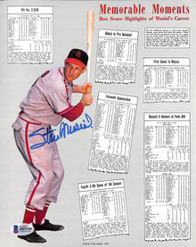 Cardinals Stan Musial Authentic Signed 8x10 Memorable Highlights Photo BAS