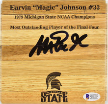 Michigan State Magic Johnson Authentic Signed 6x6 Floorboard BAS Witnessed