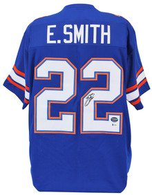 Florida Emmitt Smith Authentic Signed Blue Jersey Autographed BAS Witnessed