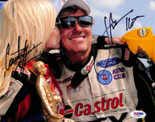John Force & Courtney Force NHRA Drag Racing Signed 8x10 Photo PSA/DNA #AA20268