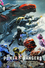 Power Rangers (5) Banks, Saban +3 Signed 12x18 Mini Movie Poster BAS #A85196