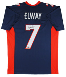 Broncos John Elway Authentic Signed Navy Blue Jersey BAS Witnessed