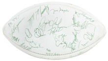 49ers (57) Montana, Rice, Clark, Haley Signed White Panel Football BAS #A57172