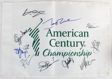 American Century (11) Rice, Smoltz, Glavine, Young Signed Pin Flag BAS #A05450