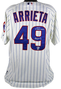"Cubs Jake Arrieta ""9/16/14 1st Career Shutout"" Game Used Jersey MLB & BAS"