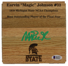 Michigan State Magic Johnson Signed 6x6 Floorboard w/ Green Signature BAS