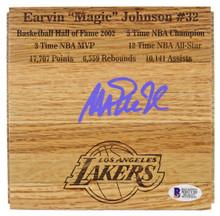 Lakers Magic Johnson Signed 6x6 floorboard w/ Purple Signature BAS Witnessed