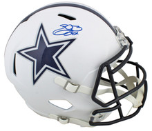 Cowboys Emmitt Smith Signed Flat White Full Size Speed Rep Helmet BAS Witnessed