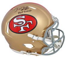 "49ers Jerry Rice ""HOF 2010"" Signed Proline F/S Speed Helmet BAS Witnessed"