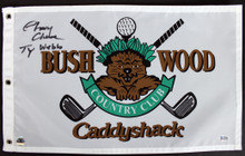"Caddyshack Chevy Chase Full Name w/ ""Ty Webb"" Signed Bushwood Flag BAS #I47052"