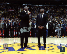 Lakers Magic Johnson Signed 8x10 Photo w/ Kobe Number Retirement BAS Witness 10