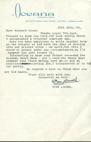 Stan Laurel Signed 5.5X8.5 1961 Typed Letter On Oceana Letterhead JSA #L48170