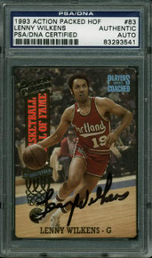 Blazers Lenny Wilkens Authentic Signed Card 1993 Action Packed HOF PSA Slabbed