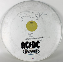 "Simon Wright ""AC/DC DIO Operation Mindcrime"" Signed 23 Inch Drumhead PSA AB40583"