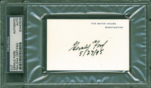 """Gerald R. Ford """"5/27/95"""" Authentic Signed 2.5x4 White House Card PSA/DNA Slabbed"""