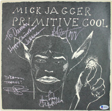 (4) Jagger, Beck, Ashley Signed Primitive Cool Album Cover W/ Vinyl BAS #A11519