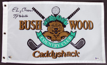 "Caddyshack Chevy Chase Full Name w/ ""Ty Webb"" Signed Bushwood Flag BAS #I47053"