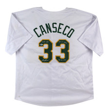 "Jose Canseco ""3x Inscribed"" Signed White Pro Style Jersey BAS Witnessed #I87972"