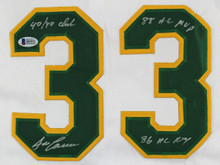 "Athletics Jose Canseco ""3x Inscribed"" Signed White Jersey BAS Witnessed #I87972"