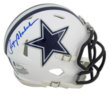 Cowboys Roger Staubach Authentic Signed Flat White Speed Mini Helmet BAS Witness