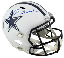 Cowboys Roger Staubach Signed Flat White Full Size Speed Rep Helmet BAS Witness