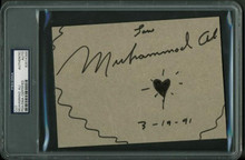 Muhammad Ali '3-19-91' Authentic Signed 5X7 Cut W/ Heart Sketch PSA/DNA Slabbed
