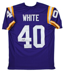 LSU Devin White Authentic Signed Purple Jersey Autographed BAS Witnessed