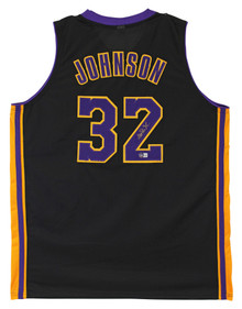 Magic Johnson Authentic Signed Black Pro Style Jersey Purple Numbers BAS Witness