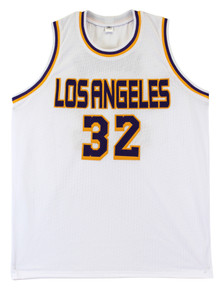 Lakers Magic Johnson Authentic Signed White Jersey Autographed BAS Witnessed