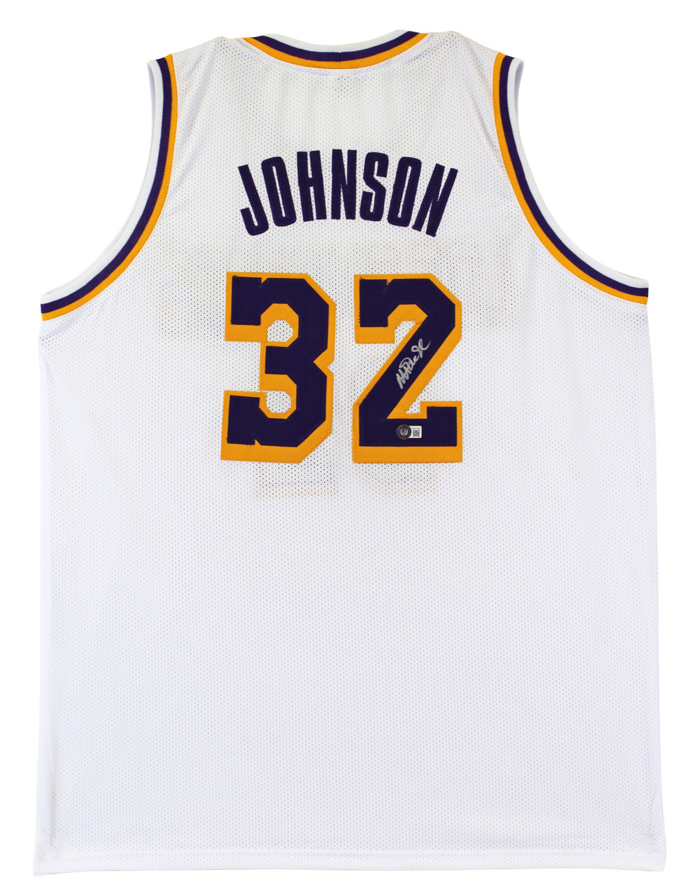 Magic Johnson Authentic Signed White Pro Style Jersey Autographed BAS Witnessed
