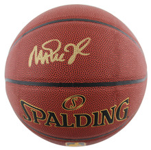 Lakers Magic Johnson Authentic Signed in Gold Spalding Brown Basketball BAS