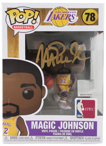 Lakers Magic Johnson Signed NBA HWC #78 Funko Pop Vinyl Figure w/ Gold Sig BAS