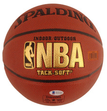 Lakers Shaquille O'Neal Authentic Signed Brown Spalding Tack Soft Basketball BAS