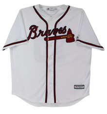 Braves Chipper Jones HOF 18 Authentic Signed White Majestic Coolbase Jersey BAS