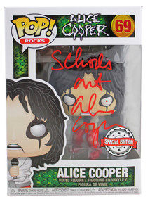 "Alice Cooper ""Schools Out"" Signed #69 Funko Pop Vinyl Figure w/ Red Sig BAS Wit"