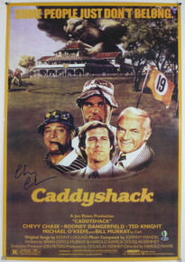 Chevy Chase Caddyshack Authentic Signed 23.5x35.5 Poster BAS Witnessed Damaged