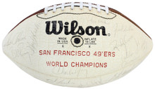 49ers Super Bowl XVI (34) Walsh, Clark Signed White Panel Football BAS #A57182
