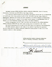 Joe Louis Authentic Signed 8.5X11 1977 5 Page Hospital Document PSA/DNA #V03054