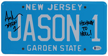 """Ari Lehman Friday The 13th """"Highway To Hell!"""" Signed License Plate BAS Witnessed"""