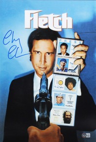 Chevy Chase Fletch Authentic Signed 12x18 Mini Movie Poster BAS Witnessed